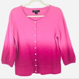 Style & Co Pink Ombré Cotton Cardigan Sweater